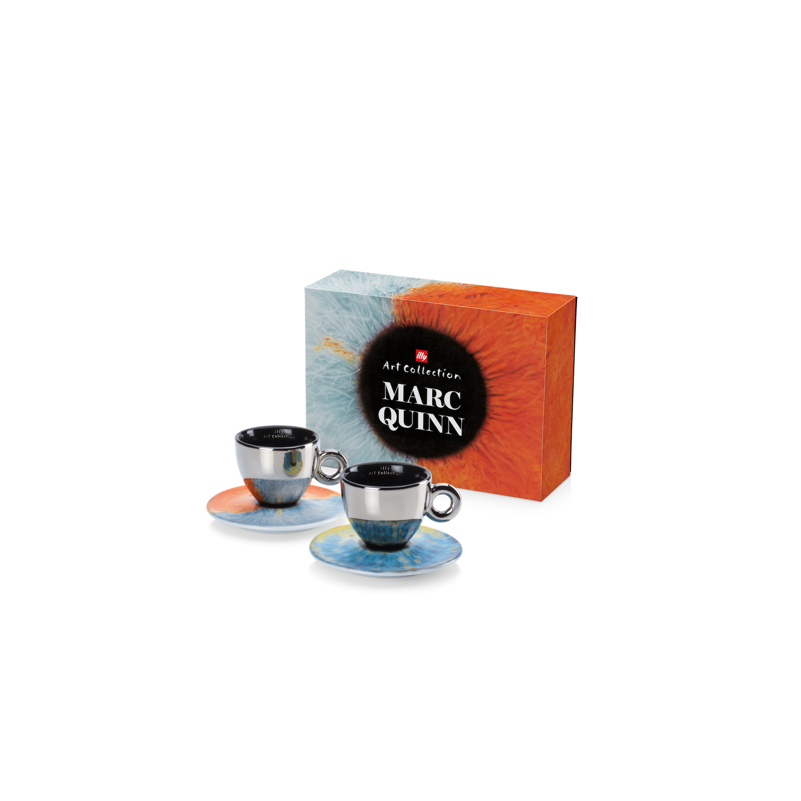 MARC QUINN COLLECTION 2 CAPPUCCINO CUPS/SAUCERS - ILLY