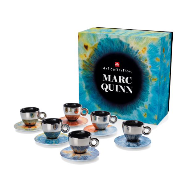 MARC QUINN COLLECTION 6 CAPPUCCINO CUPS/SAUCERS - ILLY