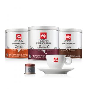 illy Thailand Single Origin Coffee Capsules columbia-india-guatemala-bundle-with-espresso-cup