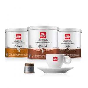 illy Thailand Single Origin Coffee Capsules etiopia-brasile-india-bundle-with-espresso-cup
