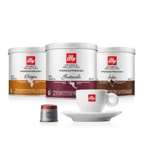 illy Thailand Single Origin Coffee Capsules etiopia-india-guatemala-bundle-with-espresso-cup